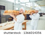 two bakers men carry trays with ... | Shutterstock . vector #1366014356
