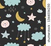 cute seamless unicorn pattern... | Shutterstock . vector #1366036250