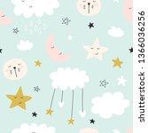 cute seamless unicorn pattern... | Shutterstock . vector #1366036256