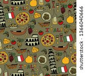 seamless pattern with symbols... | Shutterstock . vector #1366040666