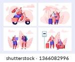 senior people traveling set.... | Shutterstock .eps vector #1366082996