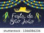 festa junina poster with straw... | Shutterstock .eps vector #1366086236