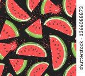 watermelon seamless pattern....   Shutterstock .eps vector #1366088873