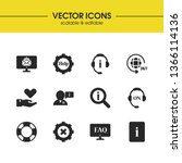service icons set with loupe...