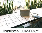 female lifestyle  cafeteria...   Shutterstock . vector #1366140929