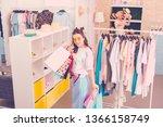 shopaholic. a creative young... | Shutterstock . vector #1366158749