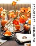 poppy theme of served luxury...   Shutterstock . vector #1366164326