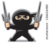 Angry Ninja With Sai Weapon