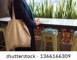 empty mockup eco bag in light...   Shutterstock . vector #1366166309