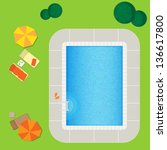swimming pool on a green meadow ... | Shutterstock .eps vector #136617800