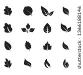 abstract leaf icon set isolated ... | Shutterstock .eps vector #1366188146