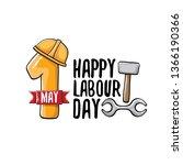 cartoon happy labour day vector ...   Shutterstock .eps vector #1366190366