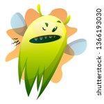 angry cartoon little green... | Shutterstock .eps vector #1366193030
