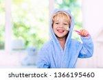 child brushing teeth. kids...   Shutterstock . vector #1366195460