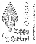happy easter coloring postcard... | Shutterstock .eps vector #1366196159