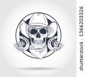sketch  skull with horseshoe ... | Shutterstock .eps vector #1366203326