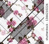 seamless  flower with texture... | Shutterstock .eps vector #1366210226