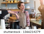 young woman working in coffee... | Shutterstock . vector #1366214279