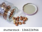 raw hazelnuts scattered from... | Shutterstock . vector #1366226966