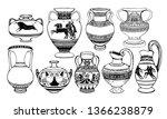 set of antique greek amphorae ... | Shutterstock .eps vector #1366238879