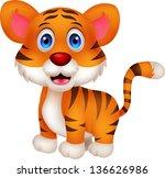 Stock vector cute baby tiger cartoon 136626986