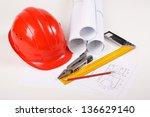 hardhat on blueprint | Shutterstock . vector #136629140