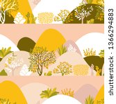 Seamless pattern hilly landscape with trees, bushes and plants. Growing plants and gardening. Protection and preservation of the environment. Earth Day. Vector illustration.