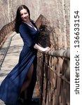 model on the pedestrian bridge... | Shutterstock . vector #136633154