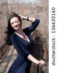 model on the pedestrian bridge... | Shutterstock . vector #136633160