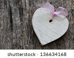 heart on wood with copy space - stock photo