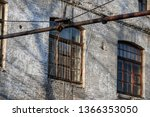 old worn rounded window with... | Shutterstock . vector #1366353050