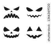 halloween pumpkin faces icon... | Shutterstock . vector #1366369520