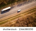aerial top view of truck with... | Shutterstock . vector #1366380350