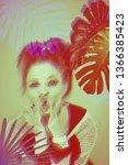 beautiful woman artwork in...   Shutterstock . vector #1366385423