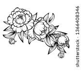 branch of roses on a white... | Shutterstock . vector #1366408346