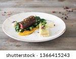 beef meat with green peas ... | Shutterstock . vector #1366415243