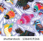 exotic seamless pattern with... | Shutterstock .eps vector #1366419266