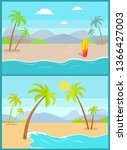coastline poster with tropical... | Shutterstock . vector #1366427003