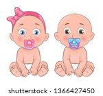 girl and boy little kids with... | Shutterstock . vector #1366427450