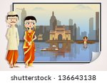 easy to edit vector illustration of Maharashtrian wedding couple