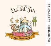 islamic doodle art banner for...   Shutterstock .eps vector #1366443416