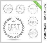 laurel wreath label badge set... | Shutterstock .eps vector #1366450649
