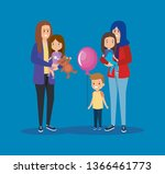 happy mothers friends with...   Shutterstock .eps vector #1366461773