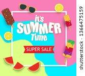 summer super sale banner with... | Shutterstock .eps vector #1366475159