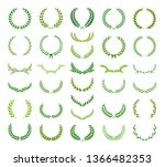 set of circular and round green ... | Shutterstock .eps vector #1366482353