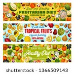 exotic tropical fruits ... | Shutterstock .eps vector #1366509143