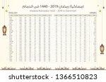 imsakia or amsakah ramadan 1440 ... | Shutterstock .eps vector #1366510823