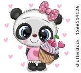 cute cartoon panda with cupcake ... | Shutterstock .eps vector #1366514126