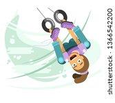 girl upside down swinging on...   Shutterstock .eps vector #1366542200