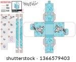 Stock vector designer box for kids hare runs on blue 1366579403